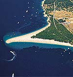 Zlatni Rat (golden cape) beach in Bol